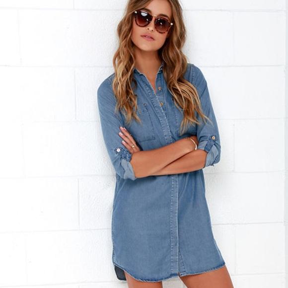 e40b5b9c46 Sweet Blue Chambray Shirt Dress